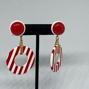 Retro earrings 50's style red and white dangle